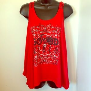 Good Vibes with red bandana print strappy tank top